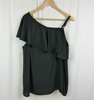 Torrid Solid Black Georgette One Shoulder Top Blouse Shirt Women's Size 2X 18/20