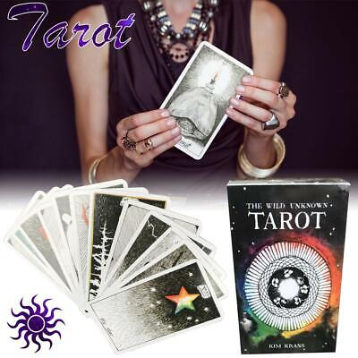 78Pcs The Wild Unknown Tarot Deck Card Waite Fortune Telling Cards Pack Black