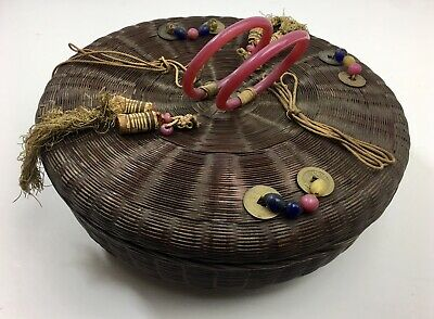 Antique Chinese Sewing Basket Coins Beads Tassels Peking Glass Rings 11 3/4""