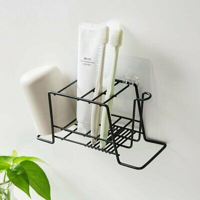 Iron Toothpaste Toothbrush Holder Cup Set Storage Rack Bathroom Wall Mount Stand