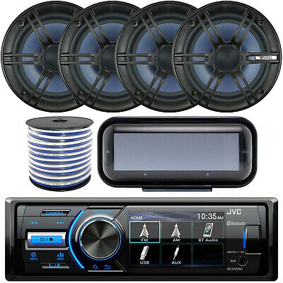 """Bluetooth Receiver, 4x 6.5"""" 2-Way Stereo Speakers, Stereo Cover, Speaker Wire"""