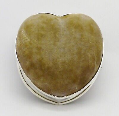 Rare Boots Pure Drug Company Solid Silver Mount Heart Shaped Trinket Box Hm 1905