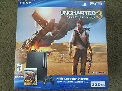 NEW Sony PlayStation 3 Slim Uncharted Bundle 320gb Console PS3 System CECH-3001B