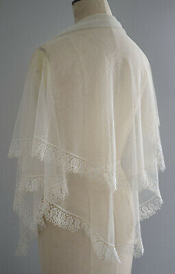 Antique 19th century tulle shawl with Beds lace border