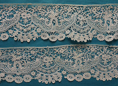 235 cms antique 19th century Brussels Duchesse and needle lace border