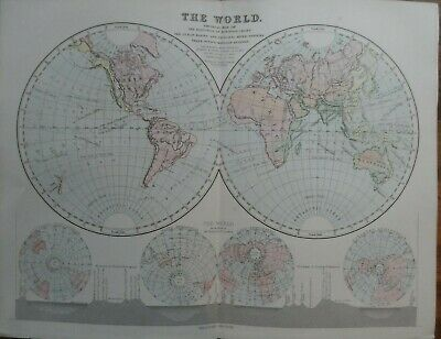 Old antique map of the world - 19th century Victorian print - book plate