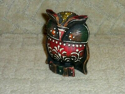 Vintage Hand Carved Painted Wood Owl Sculpture Figurine Folk Art Primitive