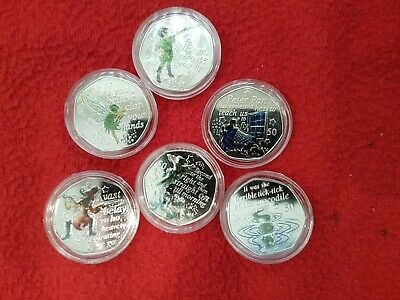 Colour Peter Pan 50p Collection, Flying ,Peter Pan ,Hook ,Wendy & Nana, Tinker