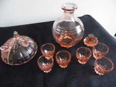 Vintage Licquer Decanter,6Glasses And Bon Bon Dish.perfect Condition