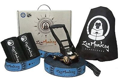 ZenMonkey Slacklines Classic Kit with Tree Protectors, Carry Bag, 60ft