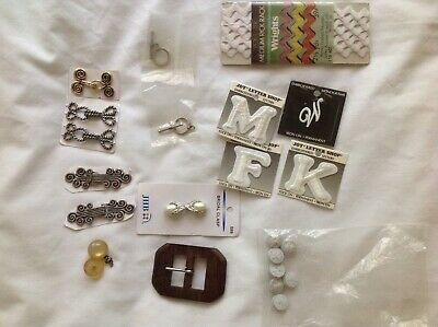 Lot of Metal Clasps, Patches, Ric Rac, Bridal Clasp, Snaps, Sewing Supplies