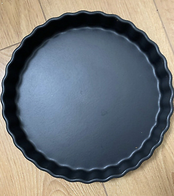 Matt Ash Black Tart  flan Pie ceramic Dish Made in France Scalloped Edge 11""