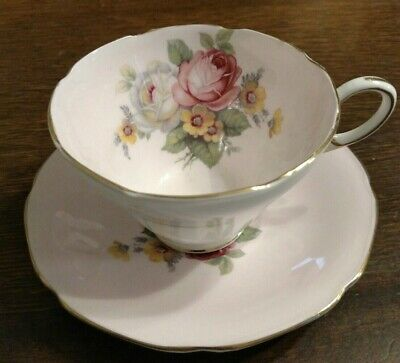 Paragon Pink Tea Cup Double Warrant Cabbage Roses Teacup and Saucer