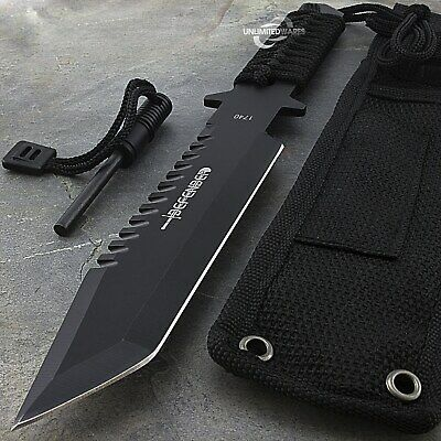 """11"""" FULL TANG FIXED BLADE SURVIVAL KNIFE w/ FIRE STARTER Hunting Military"""