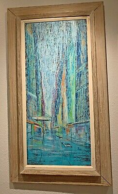 "Vintage Abstract Cityscape Oil Painting - 44"" x 24"" - Signed C. R. Wanker 1966"