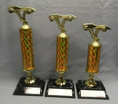 cub scout trophies set of 3  pinewood derby turned checkered column  place trim