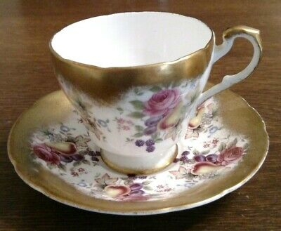 Vintage Paragon Footed Cup Saucer White Pink Rose & Fruit Brushed Gold