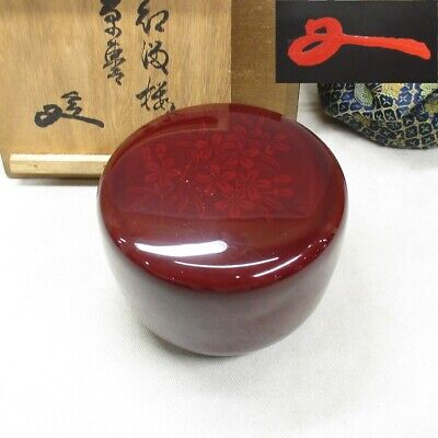 H819: Japanese old lacquered tea container with tasteful cherry blossoms and KAO