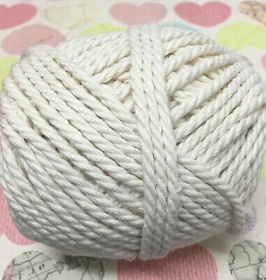 100% Cotton Cord Rope - 3-4mm 3 ply twisted wall art/macrame/looms Natural Cream