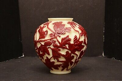 Rare Consolidated Martele pinecone large art deco satin milk glass vase painted