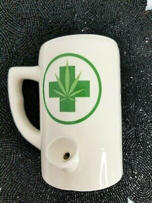 "New Porcelain Weed Coffee Mug Bong Green Cross 5"" tall"