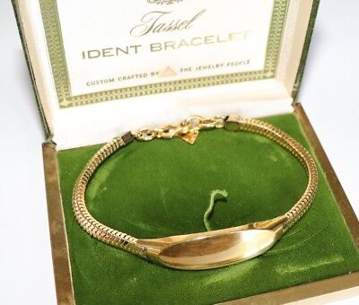 Vintage 14k gold gf ID Name Bracelet Bangle C1960s Boxed Unisex Male Female