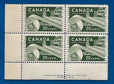 CANADA 1956 pulp + paper industry postage stamp block No 3 MNH