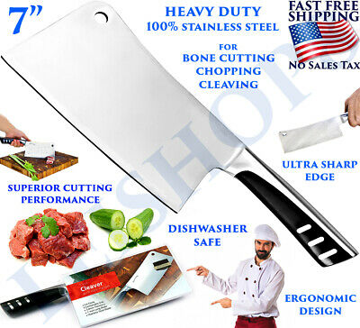 Stainless Steel Chef Butcher Knife Meat Cleaver Heavy Duty 7 Inches Bone Chopper