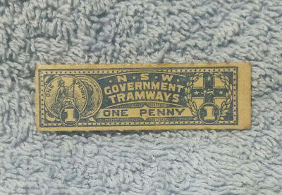 #D400. #1. 1890s NSW GOVERNMENT  TRAMWAYS   PENNY  TICKET
