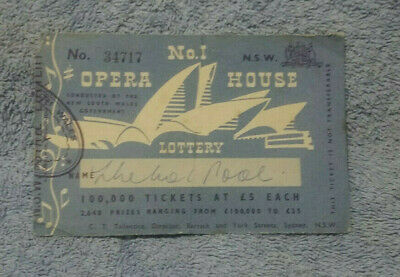 #D400. 1957  Drawn  First Opera House Lottery Ticket