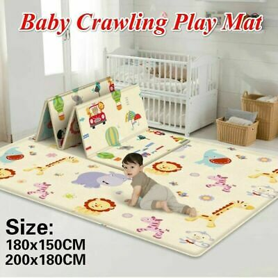Baby Kids Double Sided Crawling Game Carpet Mat Rugs Indoor Outdoor Mats New