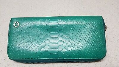 OROTON turquoise green zip around leather wallet..