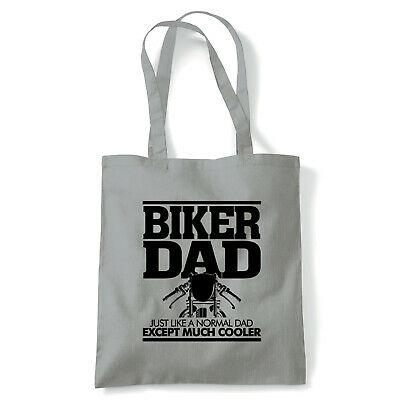 Biker Dad Funny Motorcycle Tote - Reusable Shopping Canvas Bag Gift