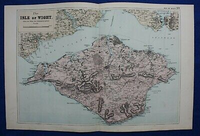 ISLE OF WIGHT, original antique atlas map, George Bacon, 1895