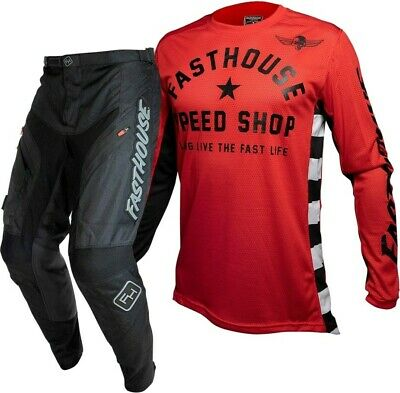 Fasthouse Grindhouse Offroad Enduro Gear BLACK ORIGINALS AC RED Adult