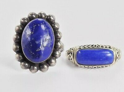 2 Rings..925 Sterling Silver Blue Agate? Lapis Lazuli? Ring Lot