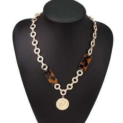 Gold Metal Chain Coin Pendant Shell Necklace Tortoise Faux Asymmetrical