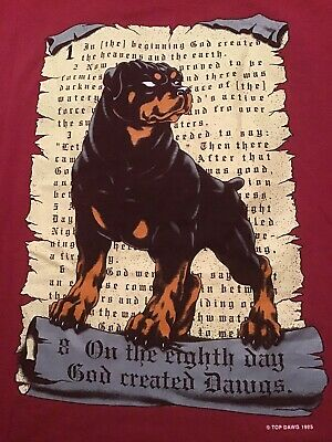 Vintage 90's Top Dawg Mens L T-Shirt 1995 On The 8th Day God Created Dawgs