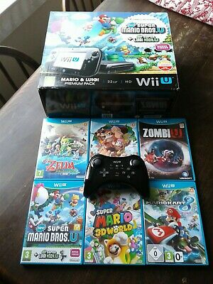 Nintendo Wii U Premium Pack 32GB Black Boxed. 6 Games and Pro-controller. VGC.