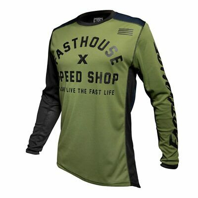 Fasthouse Heritage Motocross MX Race Jersey Olive Adult