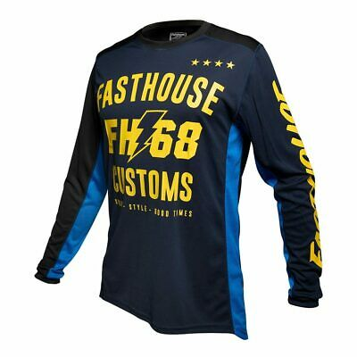 Fasthouse WORX Motocross MX Race Jersey Blue Yellow Adult