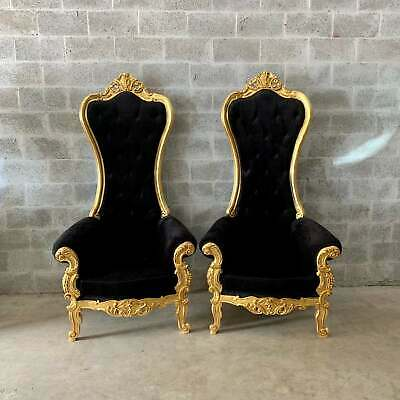Two unique French Baroque Chairs with High Backs