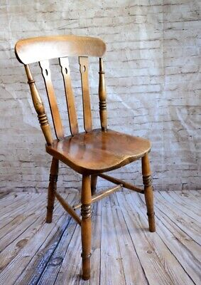 Victorian 19th Century English Elm and Beech Windsor Country Kitchen Chair