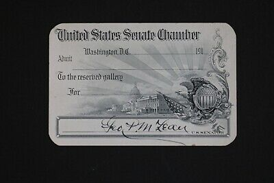 1910s United States Senate Pass Reserved Gallery Signed by Conn. Senator McLean