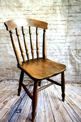 Antique 19th Century English Elm and Beech Windsor Country Kitchen Chair