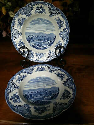 Johnson Bros.* 2 Old Britain Castle Rimmed Soup Bowls* Blue on White