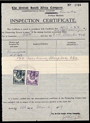 1949 Northern Rhodesia Inspection Certificate Bft:3 £10 Purple & Bft:5 £50 Grey.