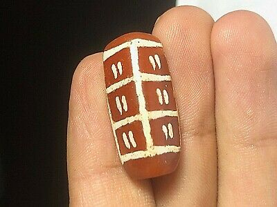 Ancient Etched Carnelian Amazing RARE! Design Indus Vallet Tube Bead Pendant