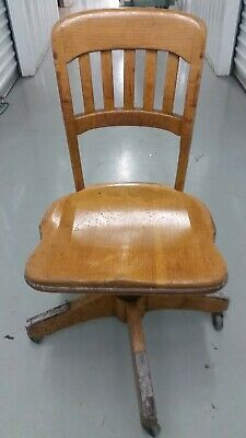 Vintage wooden desk chair, blond, oak