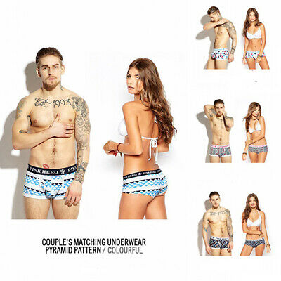 Lovers Couple Underwear Men Boxer Briefs Women Panties Knickers Cotton PINK HERO